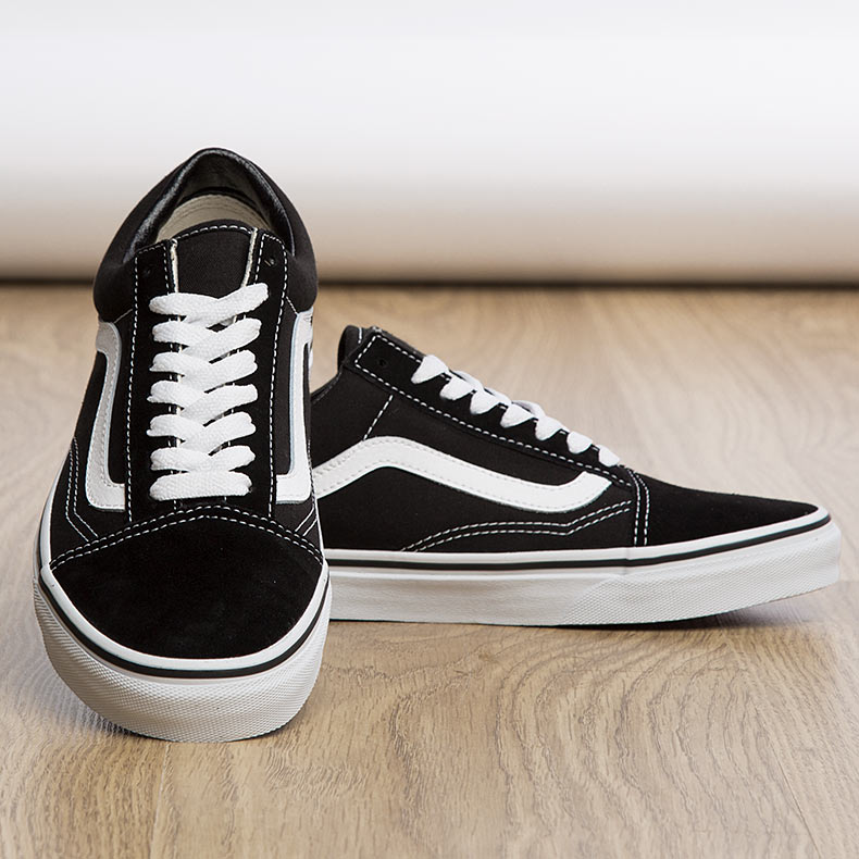 womens and mens Vans Old Skool trainers in black and white suede available at schuh